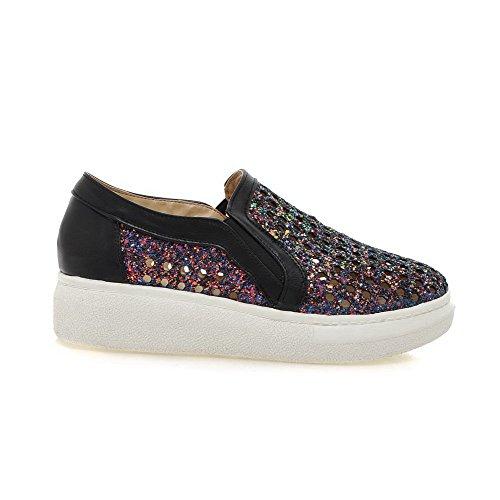 AgooLar Damen Ziehen Auf Blend-Materialien Rund Zehe Gemischte Farbe Pumps Schuhe Schwarz
