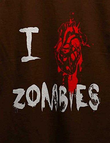 I Love Zombies T-Shirt Braun