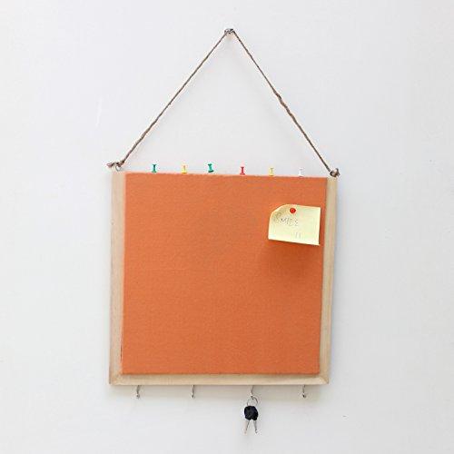 Handgefertigt aus Holz Pinnwand mit keyhooks–Orange (die Frühkindliche Bildung Materialien) (14x14 Bulletin Board)