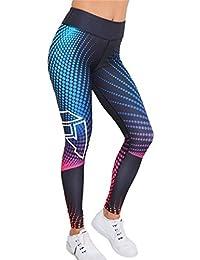 Mujer Pantalones Largos Deportivos Skinny Leggings Para Yoga y Ejercicio Running Mesh Recortados Elástico Workout Gimnasio Fitness Impresión 3D