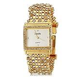 XKC-watches Herrenuhren, Zarte Frauen Quadratische Gehäuse Diamand Gold Steel-Band Quarz-Armbanduhr (Verschiedene Farben)