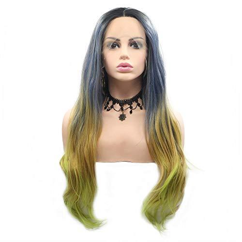Meerjungfrau-Perücke, Stahl, blau/gelb/grün, Ombré-Stil, dunkle Wurzeln, 4 Töne, klebstofffreie synthetische Spitze, für Damen, Cosplay, Urlaub, lange Wellen, für Damen