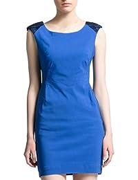 Zicac Damen Kleider elegante Stretch Kleid Business Abendkleid Sexy Kurz Sommer ärmelloses Kleid mit tiefem V-Ausschnitt auf der Rückseite (L, Blau)
