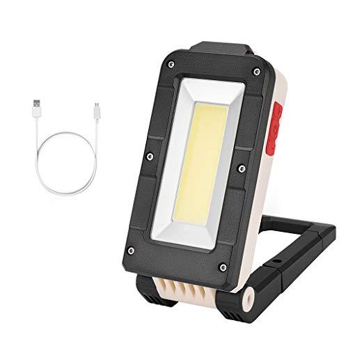MMOOVV 1 PCS Tragbare Multifunktionslicht COB + LED Wiederaufladbare Magnetische Taschenlampe Inspektionslicht Arbeitslicht Outdoor Camping Nacht Tour Sicherheitslicht (Schwarz, L) -