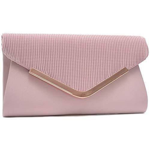 Vain Secrets Damen Handtasche Umhänge Tasche Clutch Abendtaschen in vielen Farben (21 cm Lang - 12 cm Hoch - 5 cm Breit, Puder-Rosa Satin) -