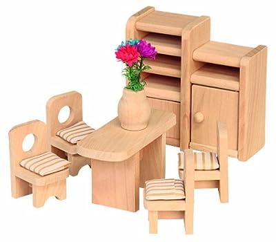 Beluga 70124 - Comedor de madera para casa de muñecas (7 piezas) por Beluga