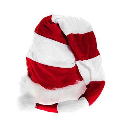 Kascha Weihnachtsmütze - Extra Lange Plüsch Mütze mit Bommel gestreift Rot Weiß - Nikolausmütze