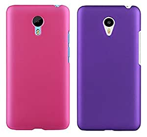 Chevron Back Cover Combo Of 2 for Meizu MX5 (Deep Pink, Purple)