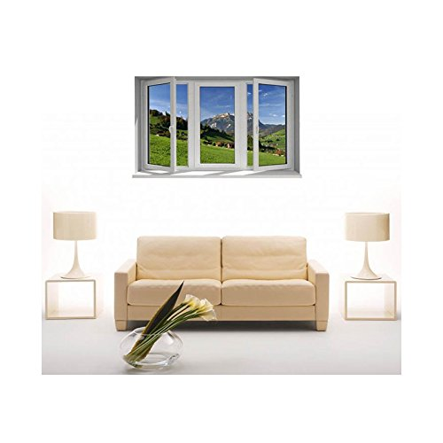 Tatoutex adesivi trompe l' oeil finestra la montagna, l 150cm x h 90cm