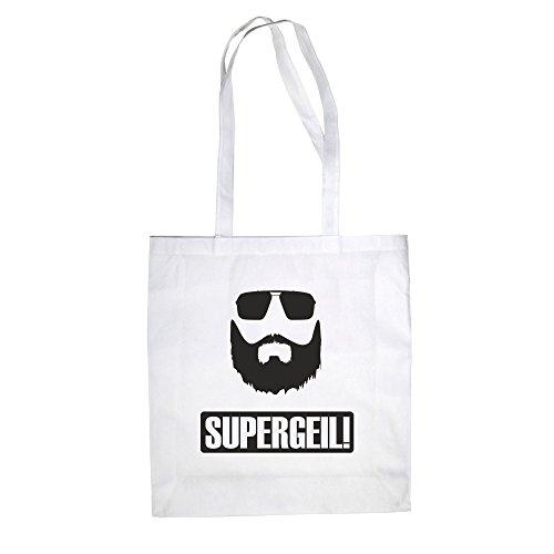 Baumwolltasche Jutebeutel Supergeil Bart Fun Einkaufstasche weiss-schwarz
