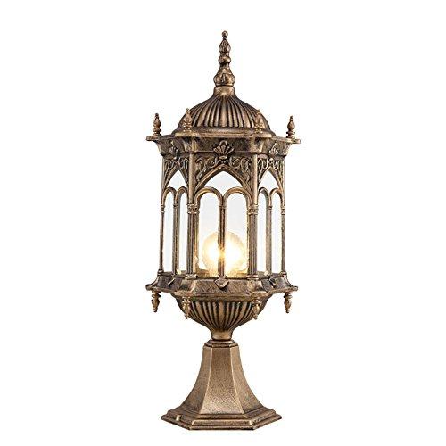 C&L Lampe de jardin imperméable à l'eau, jardin rétro Villa rétro-éclairage lampe pilier lampe murale paysage lumières pelouse unique tête E27, haute 38-51 CM ( Couleur : Brass-#1 )