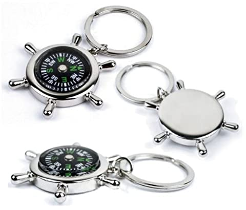 Personalised Mini Nautical Chrome Compass Keyring Key Chain Engraved Gift