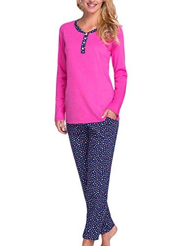 Babella 3070 Pyjama Taille Normale Maxi Longeur Top Qualité Femmes A Dessins Bariolés Coton- Fabriqué En UE rose-bleu marine