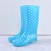 lonfenner Rain Boots,Fashion Polka Dot Comfortable Waterproof Non-Slip Easy To Clean Ladies Blue Middle Tube Rain Boots