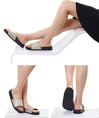 CHAOXIANG Pantofole Piatte Flip Flop EVA Toe Post Sandali Da Surf Nuovo Calzature Da Spiaggia Estiva ( Colore : Oro , dimensioni : EU37.5/UK4.5/CN38 ) Oro