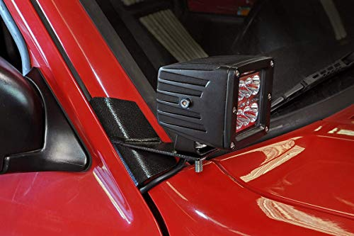Rough Country - 70525 - Lower Windshield LED Light Mounts (Jeep Cherokee XJ / Comanche MJ) by Rough Country (Lower Mount)