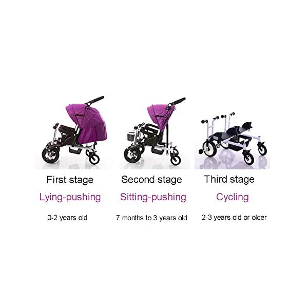 CHEERALL Twin Baby Stroller Children's Double Tricycle Summer Lightweight Breathable Toddler Pushchairs Double Buggies for Kids from Birth to 4 Years Old,B CHEERALL 3 in 1 MULTIFUNCTION:The canopy and push bar can be removed when kids grows, suitable for 3 childhood stages:Lying-pushing, Sitting-pushing, Cycling. SECURITY:Kids trike frame is made of high quality materials. Baby tricycle passed the 3C certification: non-toxic test, flame resistance test and durability test.Suitable for children from birth to 4 years. ADJUSTABLE SLEEPING BASKET & ADJUSTABLE CANOPY:The sleeping basket can be adjusted 100-175 degrees to meet the different needs of the baby to sit and lie down.Adjustable awnings allow you to adjust the different opening modes of the awning depending on the weather. 2