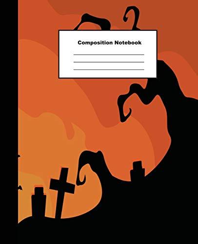 : Terrific Halloween Banner Flat Design on Orange Background Wide Ruled Paper ()