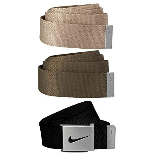 Nike SG hebilla plateada con tres correas intercambiables para cinturón - DS5006, Paquete de 3 cinturones, Talla única, Negro/Cargo Caqui/Caqui