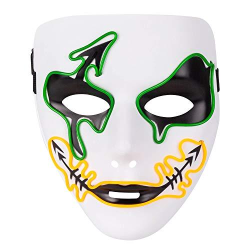 MeOkey Halloween EL Maske LED Leuchten Skull Gesichtsmaske Skelett Mask mit Draht blinkend Licht im Dunkel glühen für Cosplay Karneval Kostüm ()