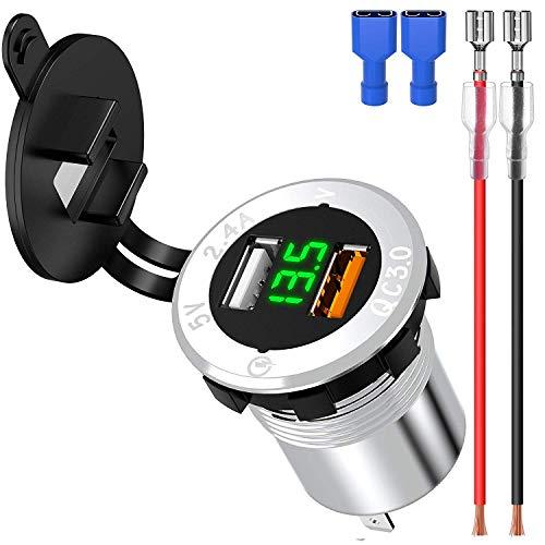 ShinePick KFZUSBSteckdose, 3,0 Quick Charge Auto USB Ladegerät, 12-24v Wasserdicht Aluminium KFZ Einbaubuchse Adapter mit LED Voltmeter für Auto/Motorrad/Boot/Wohnwagen (Weiß) (Kfz Steckdose Ladegerät)