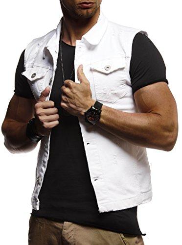 LEIF NELSON Herren Jeansweste Jeans Weste Basic Stretch destroyed Vintage Denim Stehkragen Jeansjacke Hoodie Freizeitjacke Kapuzenpullover Pullover T-Shirt Slim Fit LN9300; Größe M, Weiß