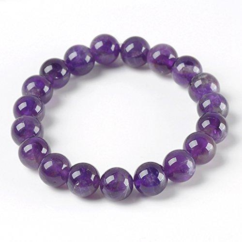 Jovivi 10mm Boules Perles Prierres Bouddhiste Bracelet Chinois pour Femme Quartz Violet
