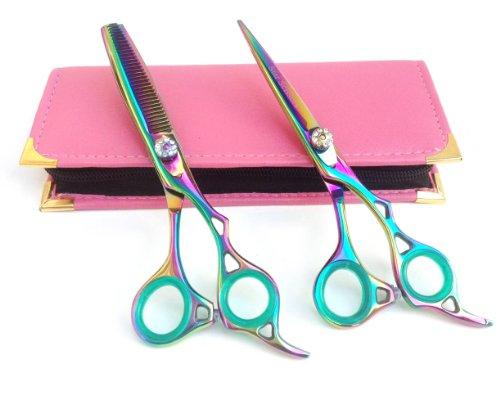 Professionnels Ciseaux de coiffure & Ciseaux Barber Salon Coiffure Ciseaux de coupe de cheveux plus 15,2 cm Titane bords de Rasoir en Acier Japonais avec étui