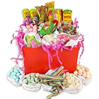 Giant Mega Sour Hamper - Red Gift Box With White Ribbon, The Perfect Retro Sour Sweet Gift