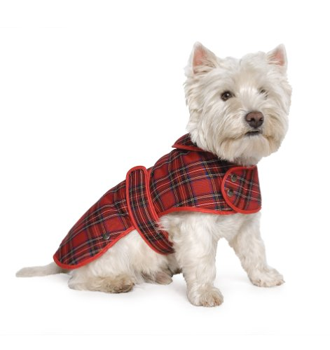 Muddy Paws Highland Tartan Coat Red Small