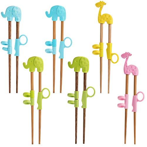 Essstäbchen für Kinder und Anfänger, 6 Paar, Training Essstäbchen, natürliches Holz, Tier-Design, sicher und ungiftig, einfach zu verwenden