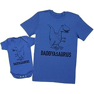 Daddysaurus & Babysaurus - regalo para padres y bebés en un cuerpo para bebés y una camiseta de hombre a juego 16