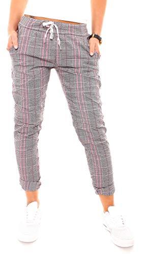 Easy Young Fashion Damen Lounge Stretch Hose Pepita Glencheck Sweathose Jogginghose Relaxpants Lang Baumwolle Kariert Schwarz-Weiß-Pink M - 38 - Pink Schwarz Karo