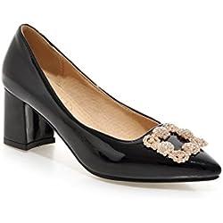 Frauen Thick Niedrige Ferse Mental Dekor Lackleder Pumps Schuhe (41, schwarz)