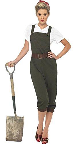 Damen Kostüm 1940s WW1 WW2 Jahrzehnte Land Mädchen Weltkrieg Armee Historisches Outfit 36 - 54 Übergröße - Grün, 24-26 (Jahrzehnte Kostüme Für Kinder)
