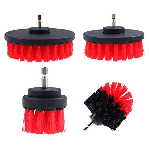 OUNONA Power Scrubber Brush Set für Küche Boden Auto Reifen Multifunktions-Bohrmaschine Pinsel Ball Pinsel Anzug Reinigungszubehör rot Bürsten(4er Pack)