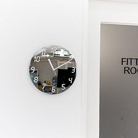 YANYANGXIN Moderne bunte stummer Wanduhr Home Office Decor Geschenk für Küche Wohnzimmer Schlafzimmer Der Spiegel an der Wand Uhr/12 Zoll/silber