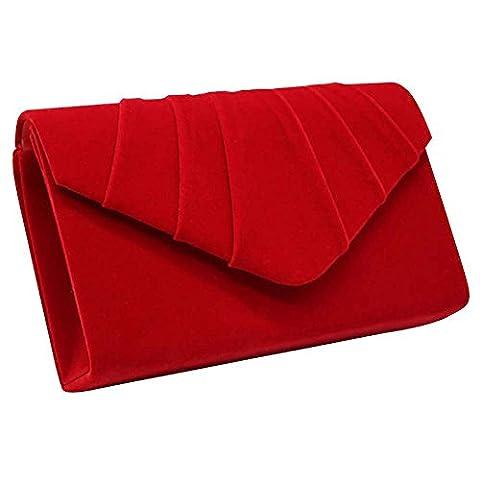 Wocharm Fashion Ladies Suede Velvet Envelope Clutch Bag Handbag Bridal Evening Womens Designer Prom Party (Red)