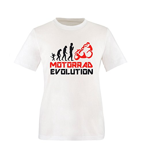 EZYshirt® Motorrad Evolution Herren Rundhals T-Shirt Weiss/Schwarz/Rot