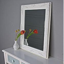 Espejo Pared Barroco Color Blanco Antiguo Madera Rústico baño Espejo, madera, Weiß, 60 x 50cm
