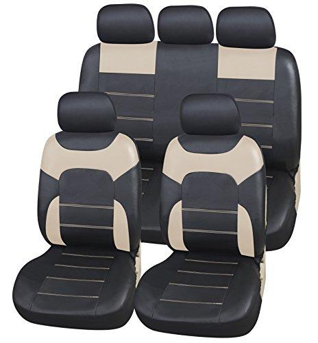 Coprisedili Ecopelle per Auto Universali Nero & Beige   Foderine Sedili Simil-pelle per Anteriori e Posteriori   Copri-Sedile Universale   Accessori Automobile Interni   Set Completo di 9