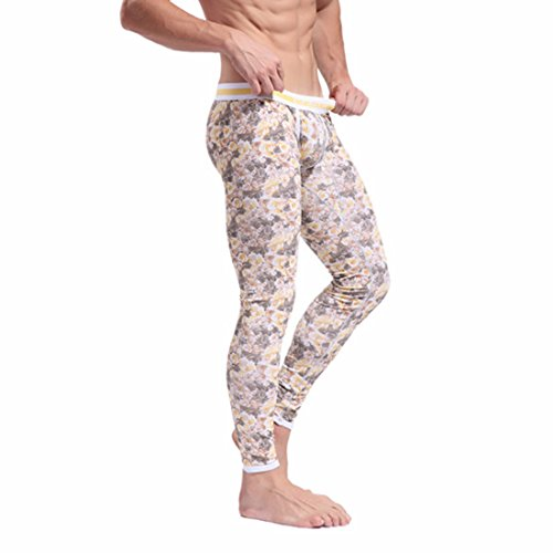 Men's Printed Soft Long Cotton Trousers yellow