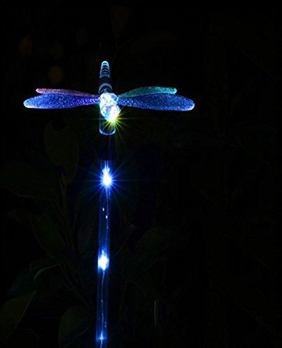 OOFAY LIGHT LED 4 Weiße Lichter 7 Bunte Solarleuchten Schmetterling Kolibri Garten Dekoration Lichter 2 Pcs,Dragonfly -