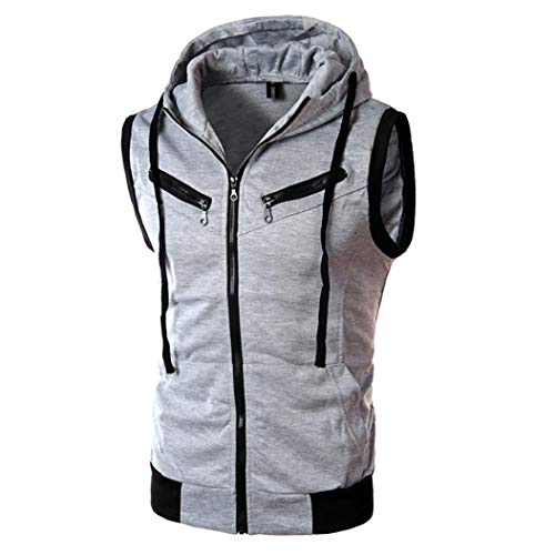 MRULIC Herren Kapuzenpullover Pure Color Langarmshirt ärmelloses Top(Grau,EU-40/CN-M)