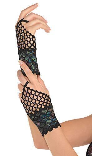 Damen Dunkel Schwarz Rainbow Fischschuppen Strass Netz Fingerlose Meerjungfrau See Sirene Mythisch Magische Karneval Festival Halloween Kostüm Handschuhe (Glovelettes Kostüm)