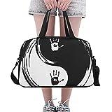 Plosds Chinesische Yin Yang Tao Mandala Element benutzerdefinierte große Yoga Gym Totes Fitness Handtaschen Reise Seesäcke mit Schultergurt Schuhbeutel für Übung Sport Gepäck für Mädchen Herren Damen