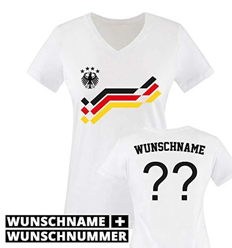 EM 2016 - Retro-Trikot - WUNSCHDRUCK - Damen V-Neck T-Shirt - Weiss/Schwarz-Rot-Gelb Gr. M