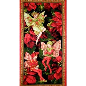 Urlaub Flower Fairies bedruckt Baumwolle Stoff Quilting Panel–59,1x 109,2cm