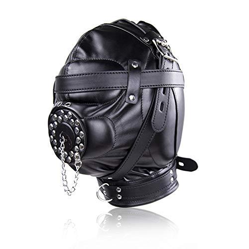 HTQLFYJ Schwarz Leder Maske Geeignet FüR MäNnlich/Weiblich Flirten SM Bondage-Spiel Erwachsener Sexspielzeug