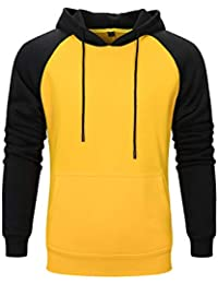 9e22ff3f538 Men s Long Sleeve Pullover Hoodie Sweatshirts with Kangaroo Pockets  Patchwork Top
